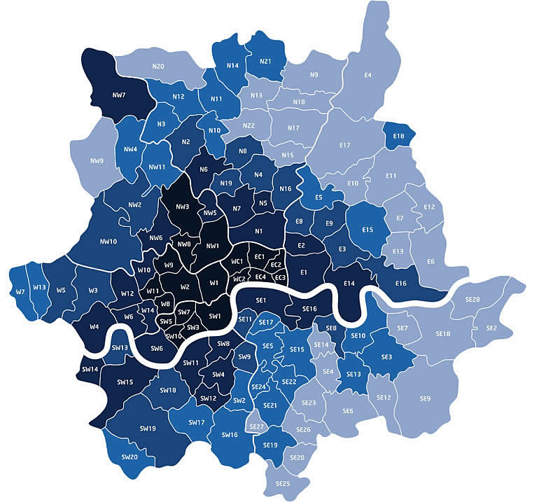Map London - Man and Van Hire areas